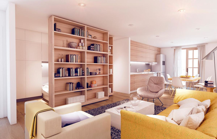 """The apartment"", El Raval -60 m²-, Barcelona. Sala de estar. Salones de estilo moderno de GokoStudio Moderno"