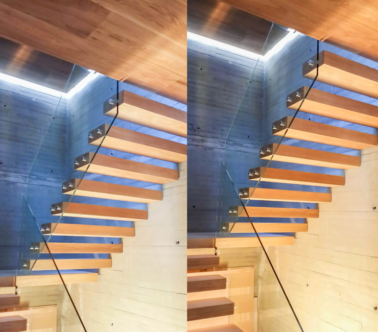Floating treads and landings together with additional LED-lighting by Railing London Ltd Сучасний