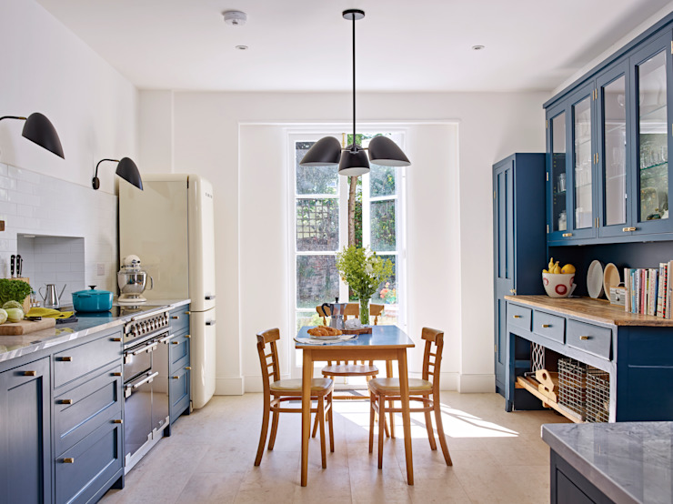 Light Filled Traditional Kitchen Holloways of Ludlow Bespoke Kitchens & Cabinetry Kitchen Wood Blue