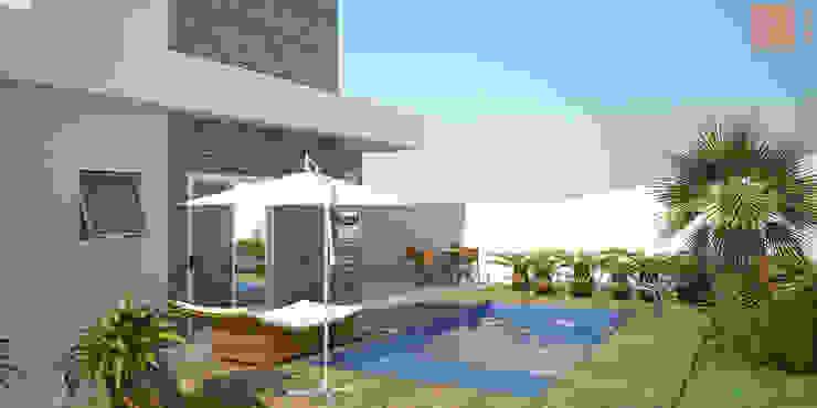 Casa SS Piscinas modernas por KC ARQUITETURA urbanismo e design Moderno Pedra Calcária