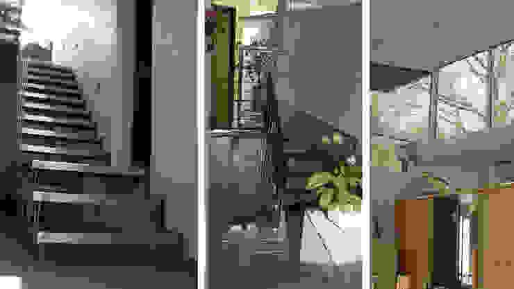 Maison sur un talus VORTEX atelier d'architecture Couloir, entrée, escaliers modernes