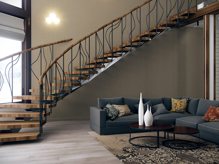Modern corridor, hallway & stairs by Be In Art Modern Wood Wood effect