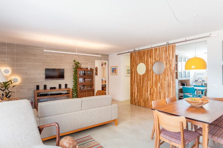 Apartamento do Amigo Calculista Nautilo Arquitetura & Gerenciamento Salas de estar modernas Concreto