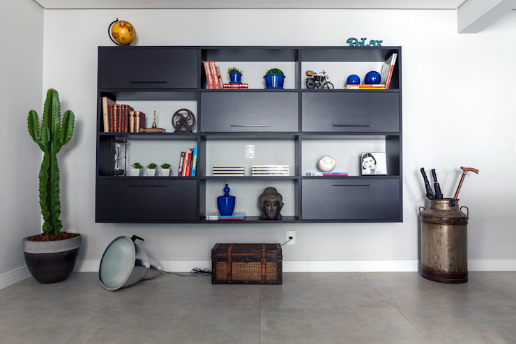 Estante Salas de estar modernas por Márcio Campos Arquitetura + Interiores Moderno