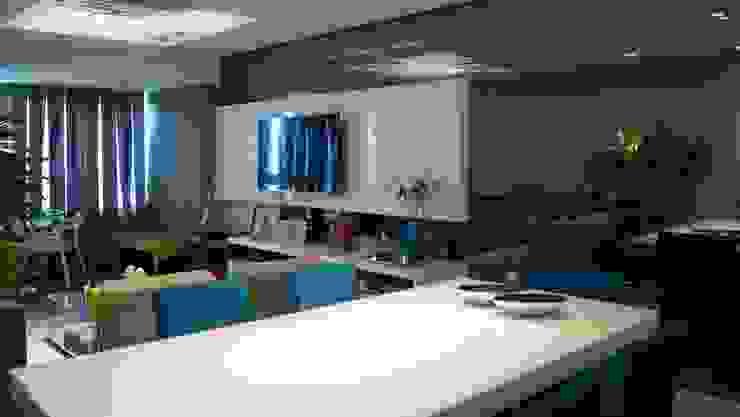 Projeto de ambientação para sala de estar com terraço gourmet Salas de jantar modernas por arquitetura assim Moderno Madeira Efeito de madeira