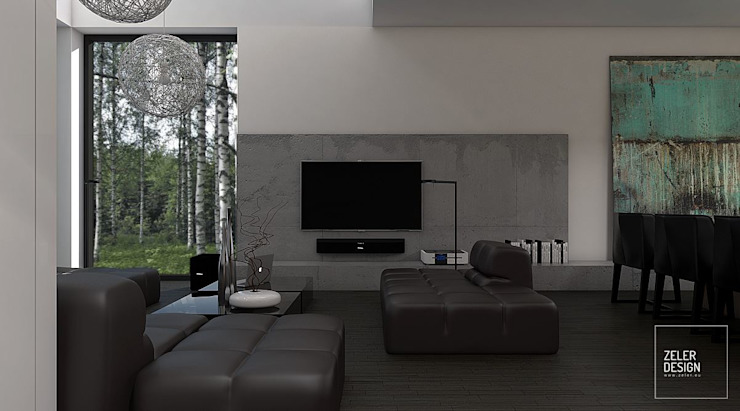 Prosta przestrzeń - salon Nowoczesny salon od Zeler Design Nowoczesny