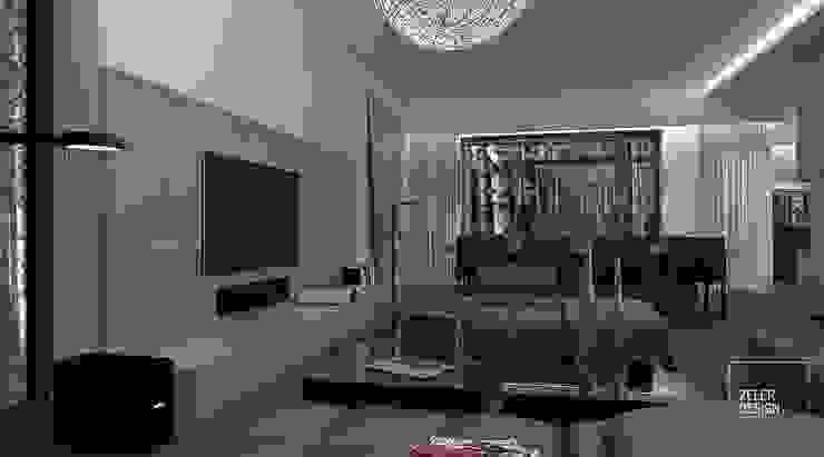 Prosta przestrzeń - salon i jadalnia Nowoczesny salon od Zeler Design Nowoczesny