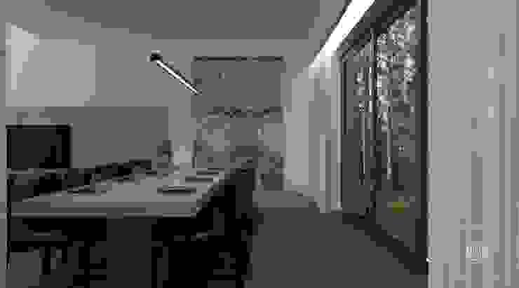 Prosta przestrzeń - salon i jadalnia Nowoczesna jadalnia od Zeler Design Nowoczesny