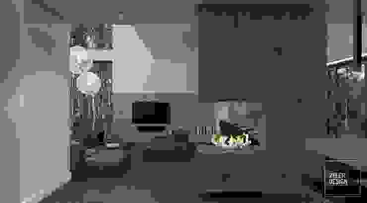 Prosta przestrzeń - salon, jadalnia i kuchnia Nowoczesny salon od Zeler Design Nowoczesny