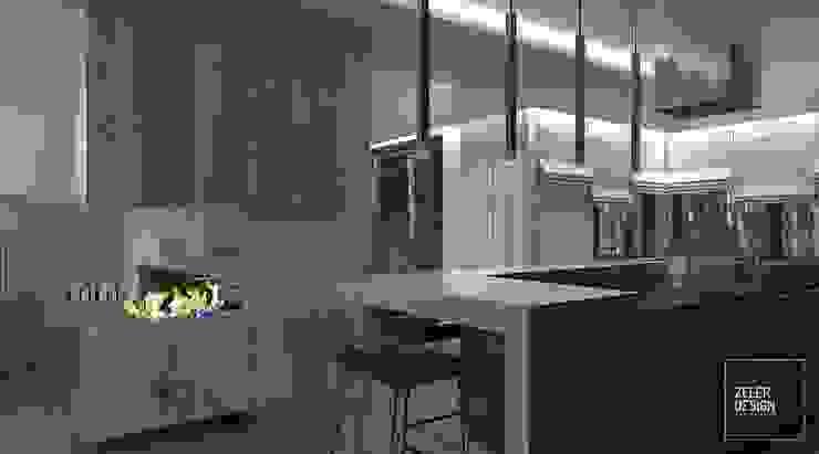 Prosta przestrzeń - salon, jadalnia i kuchnia Nowoczesna kuchnia od Zeler Design Nowoczesny