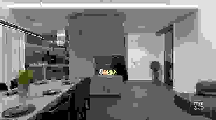 Prosta przestrzeń - kuchnia, jadalnia, holl Nowoczesna jadalnia od Zeler Design Nowoczesny