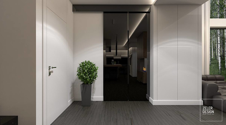 Prosta przestrzeń - holl Nowoczesny korytarz, przedpokój i schody od Zeler Design Nowoczesny