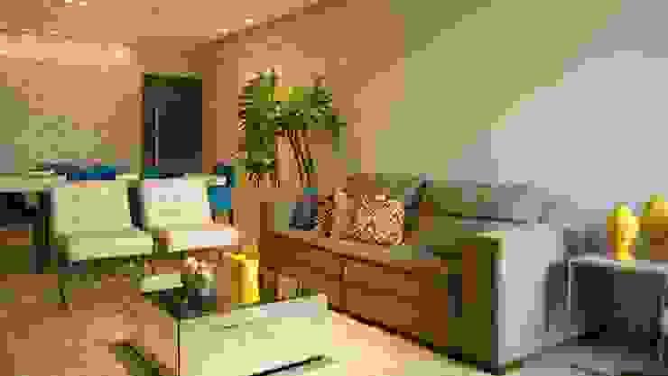 Salon moderne par arquitetura assim Moderne Bois Effet bois