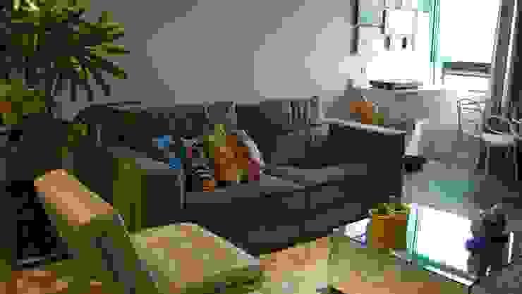 Projeto de ambientação para sala de estar com terraço gourmet Salas de estar modernas por arquitetura assim Moderno Madeira Efeito de madeira