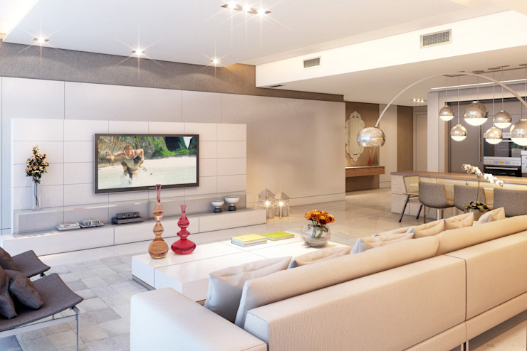 Apartamento em Miami – Château beach Salas de estar modernas por Giovanna Castagna Arquitetura Interiores Moderno Mármore