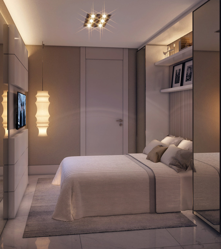 Apartamento em Miami – Château beach Quartos modernos por Giovanna Castagna Arquitetura Interiores Moderno Vidro