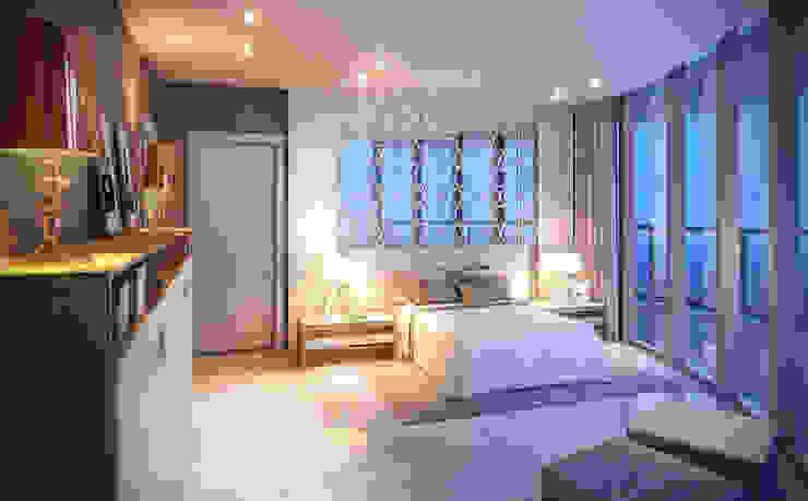 Apartamento em Miami – Château beach Quartos modernos por Giovanna Castagna Arquitetura Interiores Moderno Mármore