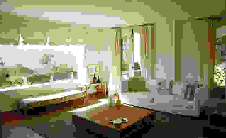 Casa Hazewinkel Salones de estilo mediterráneo de Domingo y Luque Arquitectura Mediterráneo Madera Acabado en madera