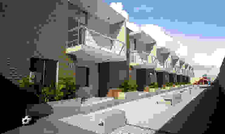 Town Houses Kubos + Arquitectos Casas modernas Concreto Multicolor