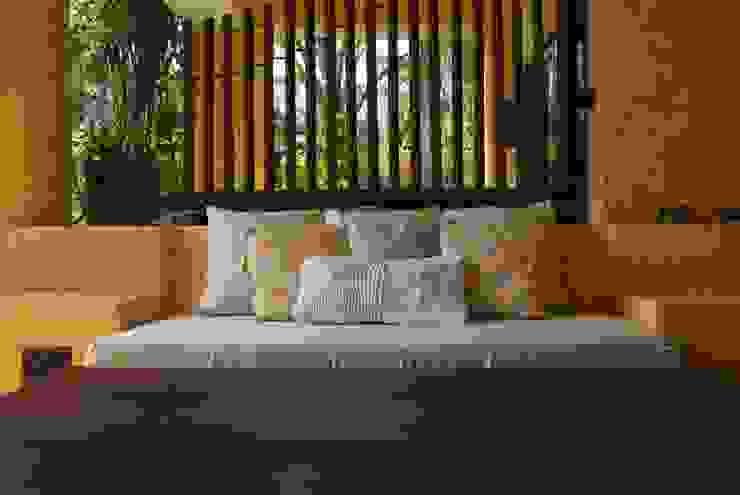 Banca de terraza de Al Hilo Ecléctico Textil Ámbar/Dorado