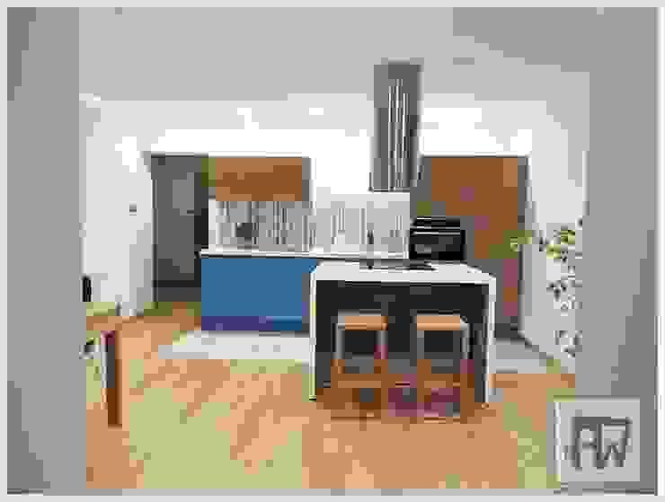 Dąb z nutą szaleństwa Nowoczesna kuchnia od PTW Studio Nowoczesny Drewno O efekcie drewna