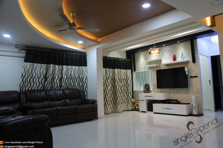 kishore residence Modern living room by single pencil architects & interior designers Modern