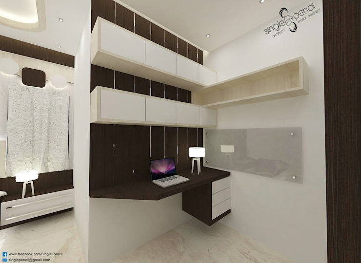 naveen residence Modern study/office by single pencil architects & interior designers Modern