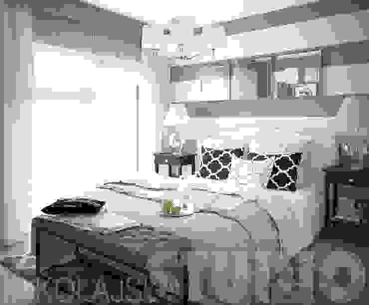 czarno-biała sypialnia od MIKOŁAJSKAstudio
