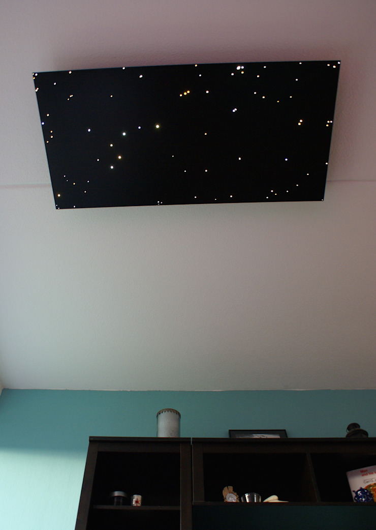 Fiber optic ceiling light star panels shooting falling stars twinkling sauna spa wellness resort starry night sky fibre lights acoustic boards tiles lighting twinkle 3 van MyCosmos Mediterraan Hout Hout