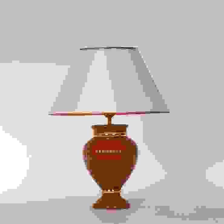 Tischlampe Keramik terracotta/gold mit Lampenschirm Leuchtenmanufaktur Brodauf GmbH WohnzimmerBeleuchtung Keramik Rot