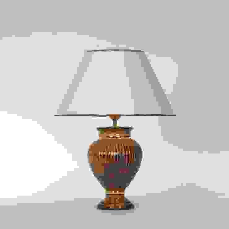 Tischlampe Keramik Braun/gold mit Lampenschirm Leuchtenmanufaktur Brodauf GmbH WohnzimmerBeleuchtung Keramik Braun