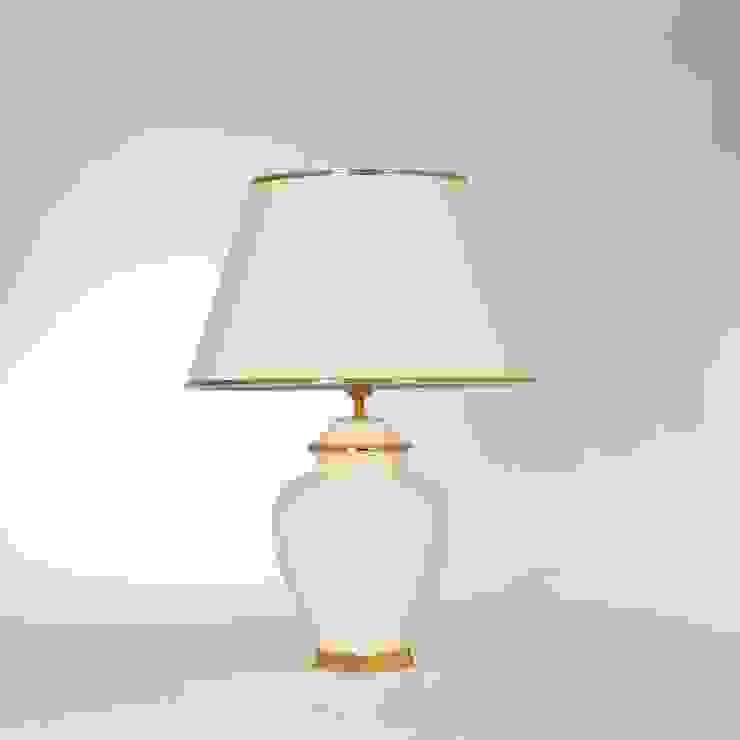 Tischlampe Keramik beige mit Gold Leuchtenmanufaktur Brodauf GmbH WohnzimmerBeleuchtung Keramik Bernstein/Gold