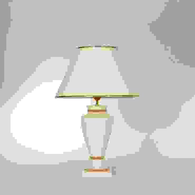 Tischlampe Keramik creme mit gold Leuchtenmanufaktur Brodauf GmbH WohnzimmerBeleuchtung Keramik Bernstein/Gold