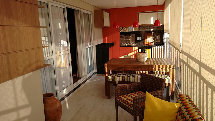 Padoveze Interiores Modern balcony, veranda & terrace