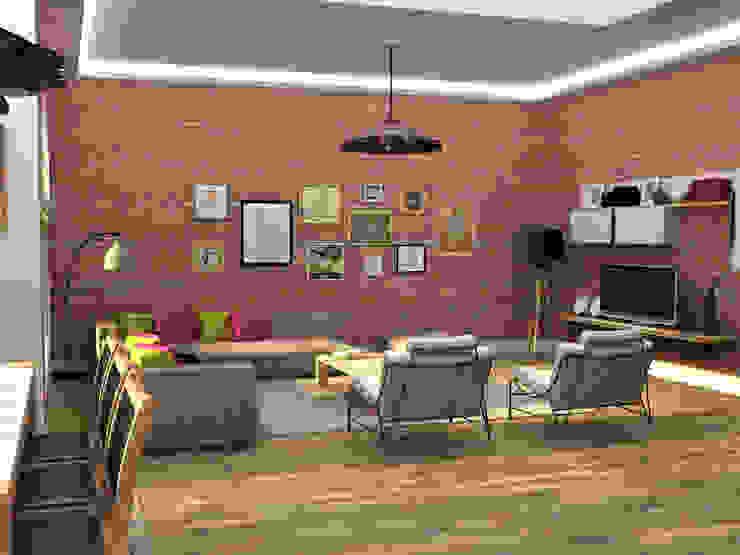 Emre & Cansu Evi Eklektik Oturma Odası Update İç Mimarlık Eklektik Tuğla