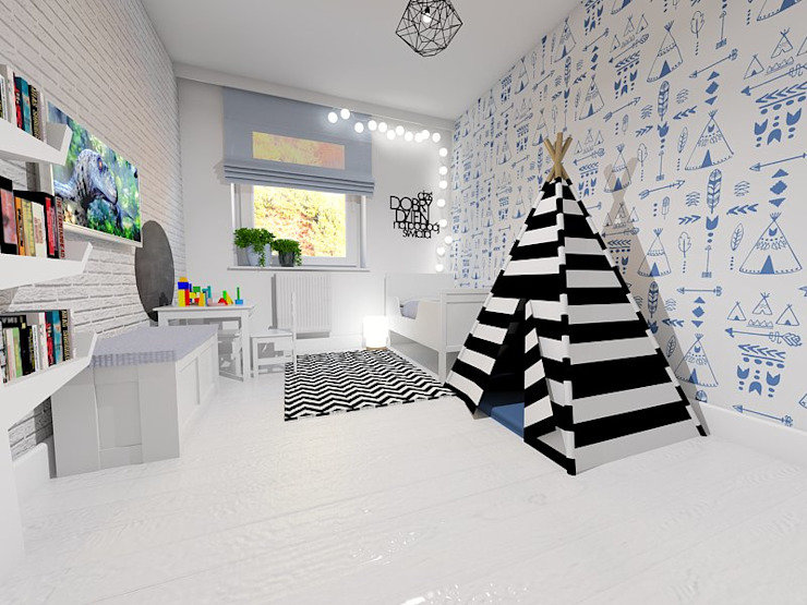 Black and white with teepee wallpaper by homify Scandinavian