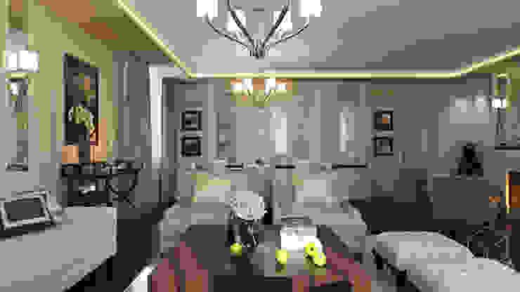 Проект 014: интерьер частного дома Гостиная в классическом стиле от студия визуализации и дизайна интерьера '3dm2' Классический