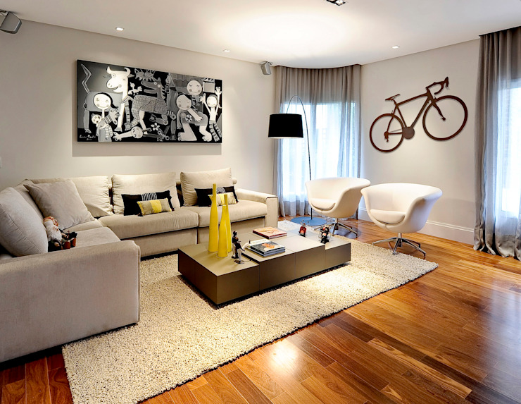 PROJETO APARTAMENTO RESIDENCIAL - PINHEIROS - SP Salas de estar modernas por RUTE STEDILE INTERIORES Moderno