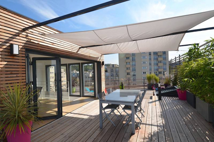 Rooftop architecte RM Architecte Balcon, Veranda & Terrasse modernes Bois Beige