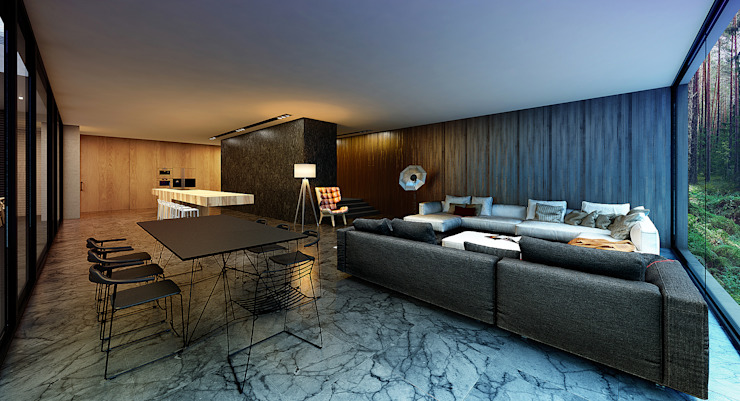 Minimalist living room by ALEXANDER ZHIDKOV ARCHITECT Minimalist