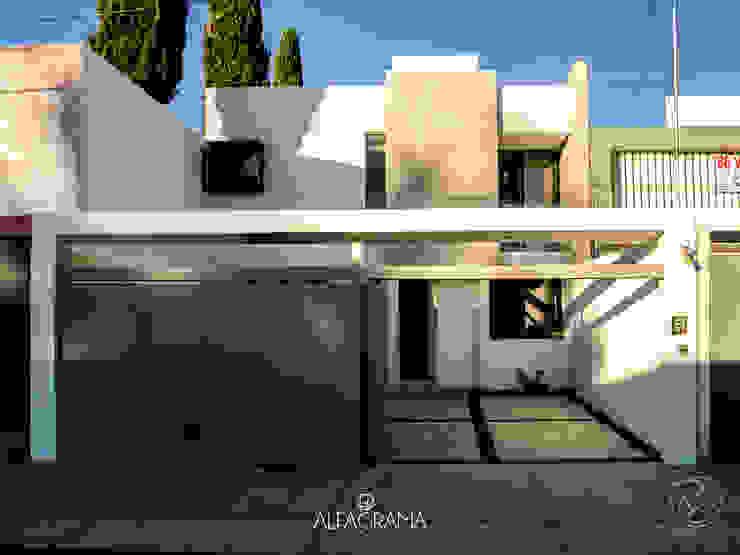 Fachada frontal con acceso abierto: Casas de estilo  por Alfagrama estudio