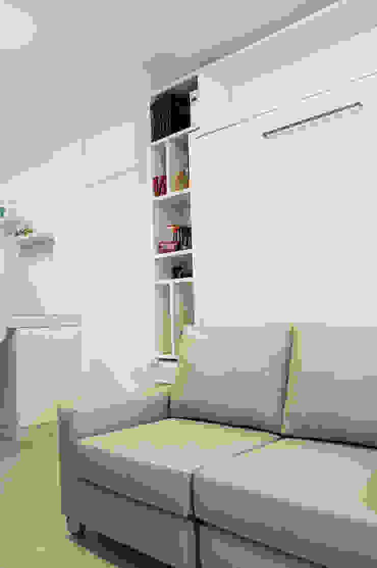 Cama rebatible + biblioteca MinBai DormitoriosCamas y cabeceras Madera Blanco
