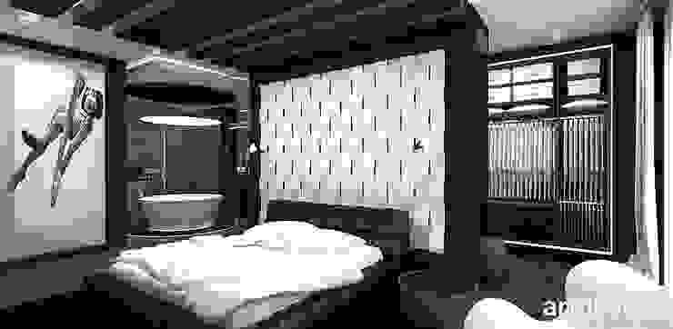 sypialnia z otwartą łazienką Nowoczesna sypialnia od ARTDESIGN architektura wnętrz Nowoczesny