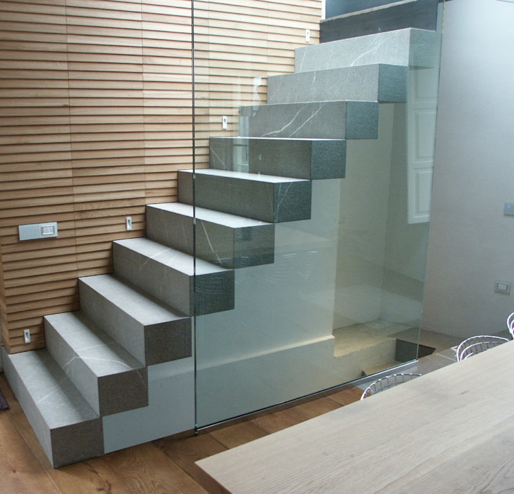 FROSINI PIETRE SRL Modern Corridor, Hallway and Staircase Stone Grey