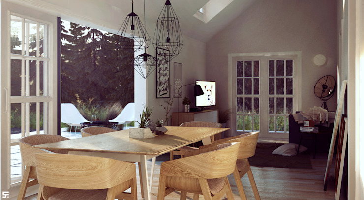 Scandinavian style dining room by homify Scandinavian Wood Wood effect