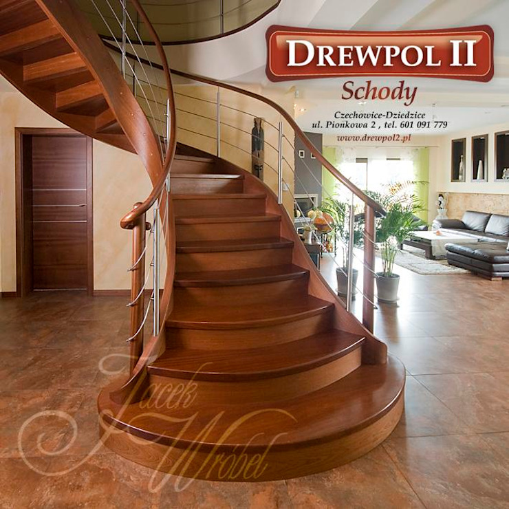 Schody Drewpol II Nowoczesny salon od Drewpol II Nowoczesny Drewno O efekcie drewna
