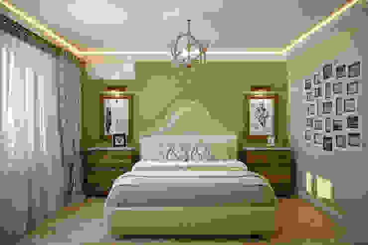 Дизайн спальни в ЖК по ул. Димитрова Спальня в средиземноморском стиле от Студия интерьерного дизайна happy.design Средиземноморский