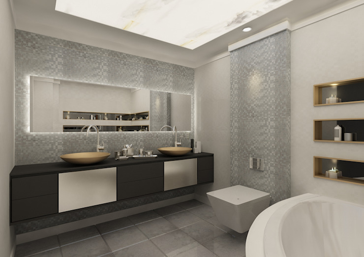 PRATIKIZ MIMARLIK/ ARCHITECTURE – Banyo: modern tarz , Modern