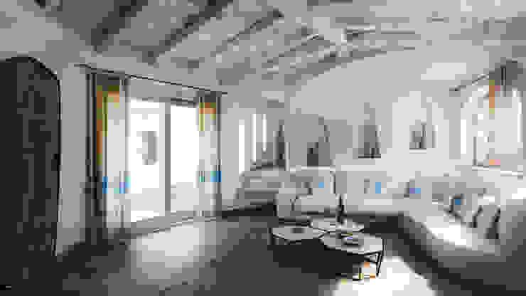Salas de estar mediterrânicas por DMC Real Render Mediterrânico