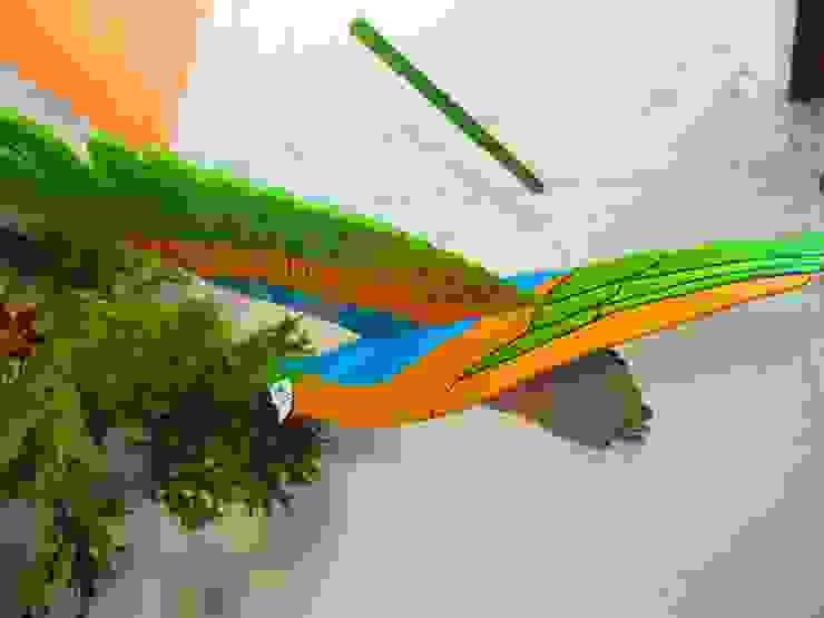 Guacamaya turquesa, verde y amarillo:  de estilo tropical por Artesania Ikare, Tropical Tablero DM